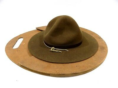 Vtg Offical Boy Scout Hat W/ Home-made Hat Press, Made For The Stores Dept Store