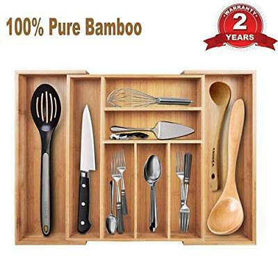 Expandable Bamboo Flatware Tray Cutlery and Utility Drawer Organizer 8 2 with