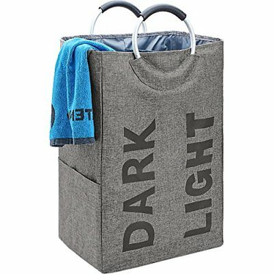 HOMEST Double Laundry Hamper Bag with Handle Easily Transport Foldable Large