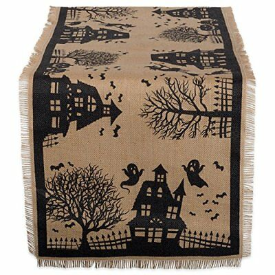 "DII 14x74"" Jute/Burlap Table Runner, Haunted House - Perfect for Halloween, and"