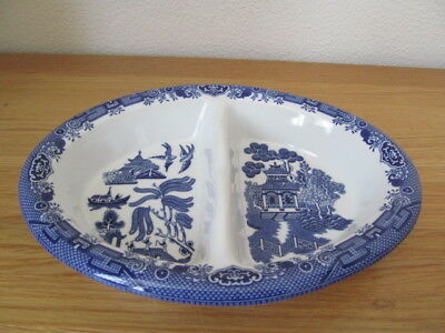 Churchill Willow Pattern Oval Divided Serving Vegetable Dish