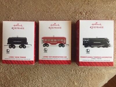 Hallmark Christmas Ornaments Lionel Trains Locomotives, Tenders, Car Lot of 3