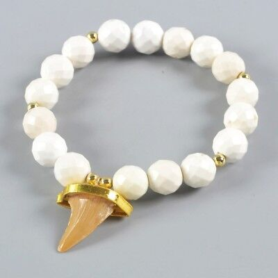 Rare Shark Tooth Fossil 10mm Howlite Turquoise Faceted Bracelet Stretch H117687