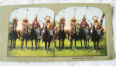 Litho Lithograph Image Sioux Indian Warriors Stereoview Card Sitting Bull