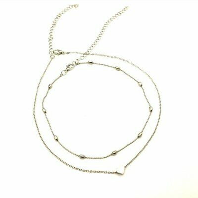 Necklace double layer heart chain hot multilayer choker pendant gold silver MKC