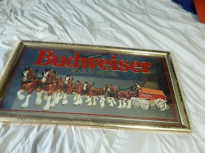 Vintage 1990 Budweiser King Of Beers Clydesdales Wagon Mirror Sign 27x14