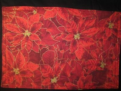 Christmas Poinsettia  Holiday Flowers Handmade Fabric Placemats Set Of 4