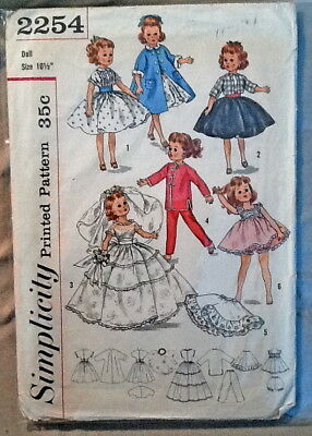 """1950's Simplicity Vintage Doll Pattern 2254 for 10"""" Revlon Clothes Wardrobe"""