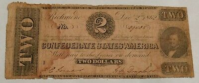 Confederate States of America $2 Note. Richmond December 2nd 1862 (#2)