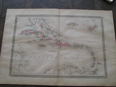 1864 ORIGINAL Huge Map of Cuba, Puerto Rico, West Indies, Jamaica, Trinidad