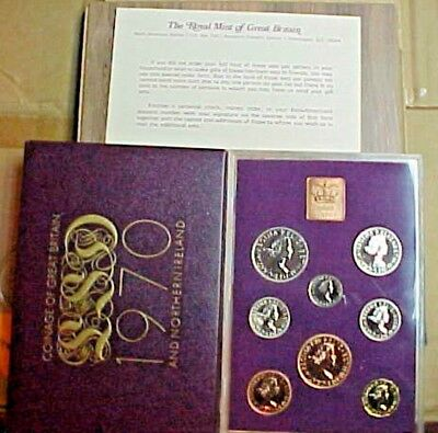 1970 Great Britain & Northern Ireland 8 Coin Proof Set 1/2 Penny-1/2 Crown