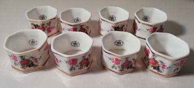 A Set of Eight Hexagonal Bone China Napkin Rings w. Floral Decoration : c1930