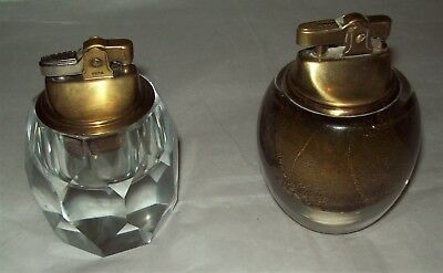 2 Vintage Glass Table Cigarette Lighters - Gold & Multi-Faceted