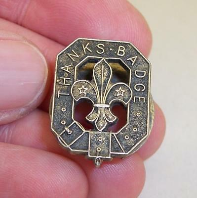 Vintage 1954 STERLING SILVER Fully Hallmarked THANKS SCOUT BADGE Button/Lapel