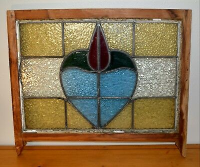 Antique Vintage Large Stained Glass Window Panel Multicolor 24X29 Wood Frame