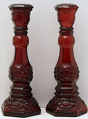 Pair (2) Vintage Avon Cape Cod 1876 Ruby Red Glass Tall Candlesticks