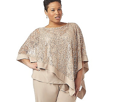NEW CATHERINES MOTHER OF BRIDE BEIGE 2pc SPARKLE HOLIDAY BLOUSE TOP PLUS 22 26