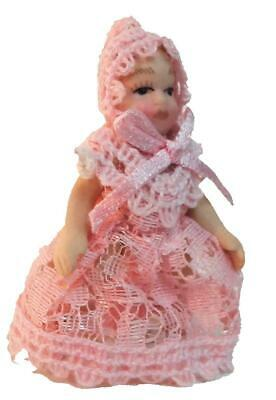 Dolls House Victorian Baby Girl in Pink Lace Miniature Porcelain People