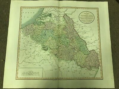 Antique Hand Colored New Map of Netherlands Engraving 1804 John Cary