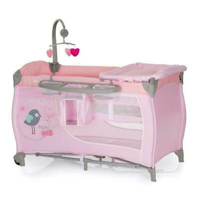 New Hauck Babycentre Playpen Travel cot+musical mobile+changer in Pink Birdie