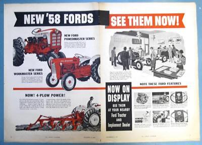 Centerfold Original 1958 Ford Tractor Ad POWERMASTER, WORKMASTER SEE THEM NOW