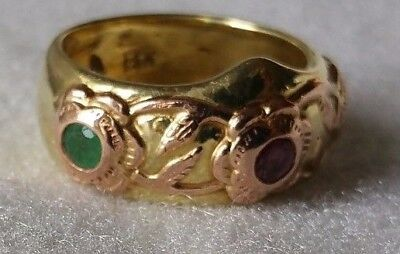 14K Yellow & Rose Gold, Ruby, Emeralds ARCHER RING 10.8 grms Sz 6.5 and 6mm Wide