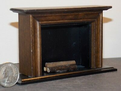 Dollhouse Miniature Fireplace Walnut 1:12 one inch scale Y41 Dollys Gallery