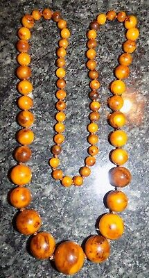 Antique Vintage Art Deco HUGE Butterscotch Amber Swirl Bakelite Bead Necklace