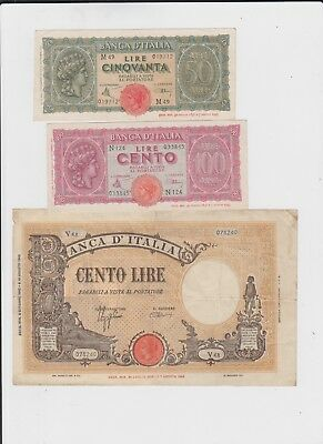 Italy Paper Money  three old notes vf