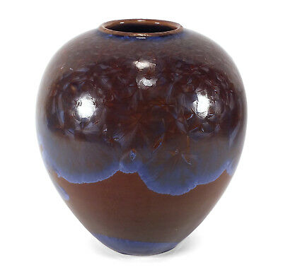 Fine Mary Burton Crystalline California Studio Art Pottery Vase Blue Crystals
