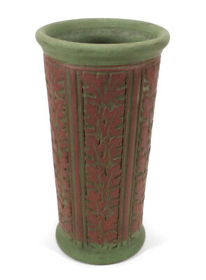 Vintage Matte Green Terracotta Brick Red Weller Ohio Art Pottery Vase Oak Leaves
