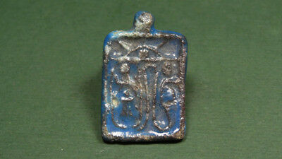 Ancient Faience Pendant Uraei , Sun & Eye Image Egyptian 716-30 Bc