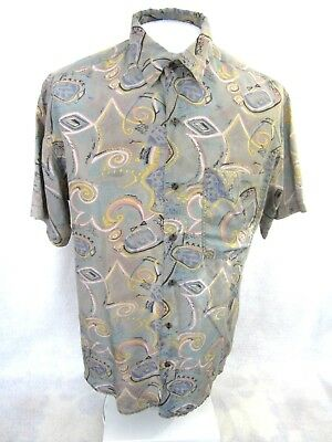 THUMS UP vintage 1990s Men shirt club wear short sleeve p2p 23.5 L silk abstract