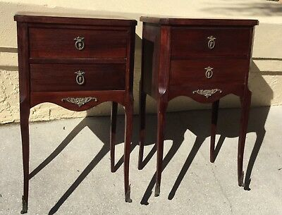 EXCEPTIONAL pair FLAME MAHOGANY END TABLES NIGHTSTANDS w ORNATE BRASS FEET