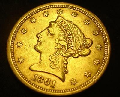 1861 $2 1/2 Liberty Head Gold Coin Quarter Eagle RARE!