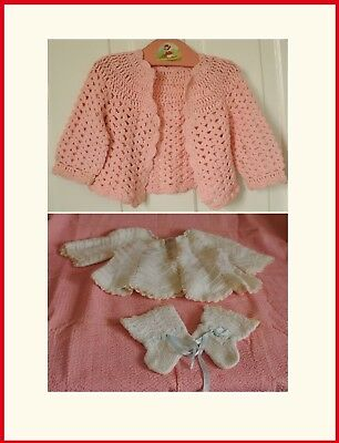 2 Vintage Hand-Made Baby Sweaters, Booties and Hat -1 Pink 1 White 1950-60's
