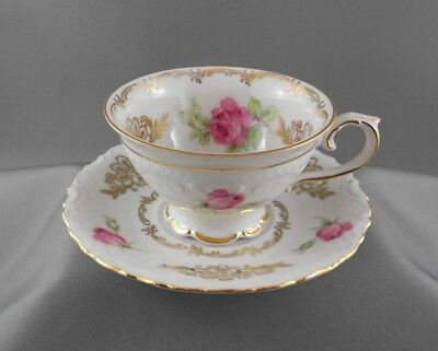 Bavaria Schumann Rose & Rosebud Gold Accents Tea Cup & Saucer Germany Us Zone