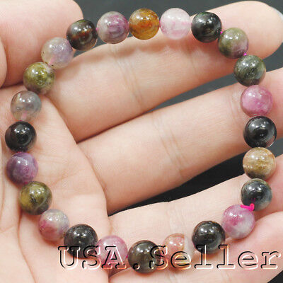 """79.5CT 100% Natural Multicolored Tourmaline Round Beads 7mm Bracelet 6"""" D720"""
