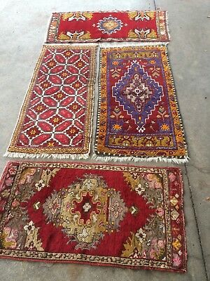 antico-swiss 4 Beautiful Antique YASTIK Turkish rugs 1`9x3`6and1`7x3`6and1`6x ft