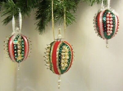 THREE Vintage Hand Made VICTORIAN STYLE Oval Christmas Ornaments D11