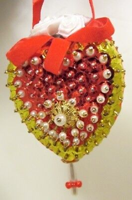 Vintage Hand Made VICTORIAN STYLE Heart Shaped Christmas Ornament D11