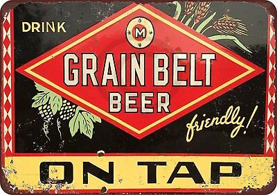"Grain Belt Beer On Tap Vintage Rustic Retro Metal Sign 8"" x 12"""