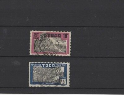 TOGO , 1924, SG64 10c BLACK & MAUVE AND SG79 75c BLACK & BLUE, USED.....G.C.V.