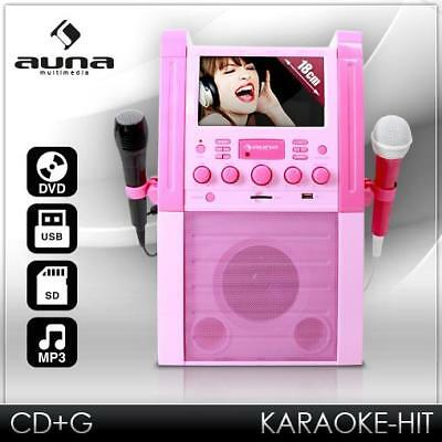 (B-WARE) KARAOKE PARTY MUSIK ANLAGE DVD CD+G MP3 PLAYER USB SD RECORD 2x MIKRO