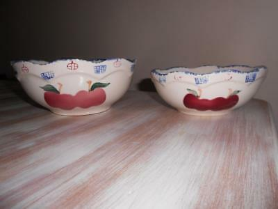 Vintage x 2 Country Kitchen APPLES Design Mixing BOWLS