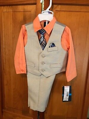 Toddler Boys DOCKERS 4 PC SIZE 6/9 MONTHS  Beige & Orange Suit NWT MSRP $48.00