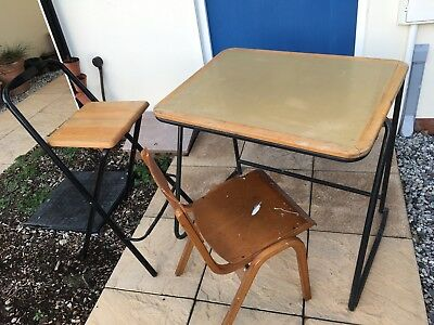 Vintage School Desk, Chair & teachers stool. Lot. Antique Furniture