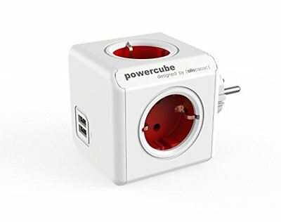 allocacoc PowerCube Duo USB Original Rot, Reiseadapter & 4x Steckdose und Ver...