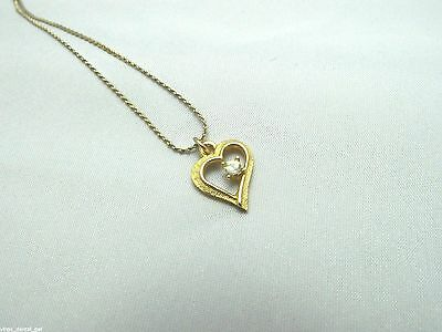 Vintage DESIGNER Signed Gold Tone Clear CZ Heart Pendant Necklace