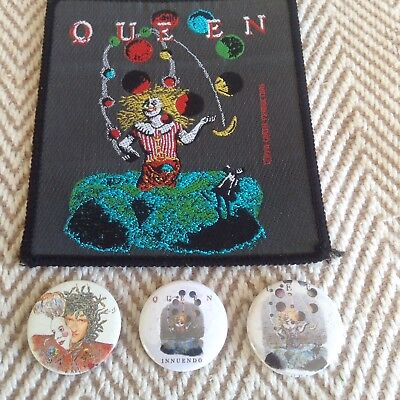 QUEEN, FREDDIE MERCURY INNUENDO PATCH and 3 PIN BADGES